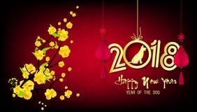 Guten Rutsch ins Neue Jahr-Grußkarte 2018 und chinesisches neues Jahr des Hundes lizenzfreie abbildung