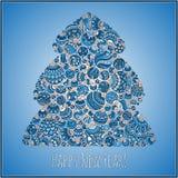 Guten Rutsch ins Neue Jahr-Grußkarte Weihnachtsbaum von Bälle illustra Stockfotos