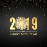Guten Rutsch ins Neue Jahr 2019 Grußkarten-Textentwurf Neue Jahre Fahne mit goldenen Zahlen und Feuerwerk Auch im corel abgehoben stock abbildung