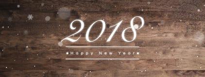 2018-guten Rutsch ins Neue Jahr-Grußtext auf hölzernem Fahnenhintergrund Stockfoto