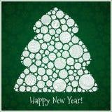 Guten Rutsch ins Neue Jahr-Grußkarte Weihnachtsbaum von Bälle illustra Stockbilder