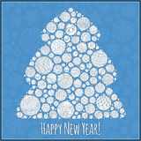 Guten Rutsch ins Neue Jahr-Grußkarte Weihnachtsbaum von Bälle illustra Lizenzfreie Stockfotos