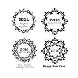 Guten Rutsch ins Neue Jahr 2016 Guten Rutsch ins Neue Jahr-Gruß mit dem Blumenrahmen Vektor Abbildung
