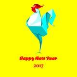 Guten Rutsch ins Neue Jahr-Hahnorigami Lizenzfreie Stockbilder