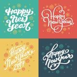 Guten Rutsch ins Neue Jahr-Hand gezeichnet, die Postkarten beschriftend eingestellt Lizenzfreie Stockfotos