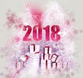 2018-guten Rutsch ins Neue Jahr-Hintergrund Lizenzfreie Stockfotografie