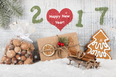 Guten Rutsch ins Neue Jahr-Hintergrund 2017 Stockbilder