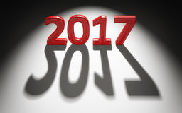 2017-guten Rutsch ins Neue Jahr-Hintergrund Buchstaben 3d und Schatten Stockfotos