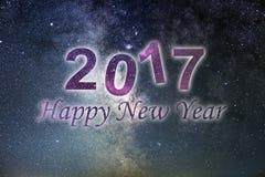 Guten Rutsch ins Neue Jahr 2017 Hintergrund des glücklichen neuen Jahres Nächtlicher Himmel Stockfotografie