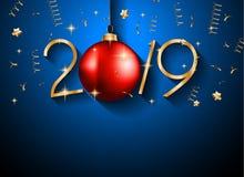 2019 guten Rutsch ins Neue Jahr-Hintergrund für Ihre Saisonflieger und Gree lizenzfreie stockfotografie