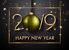 2019 guten Rutsch ins Neue Jahr-Hintergrund für Ihre Saisonflieger und Gree stockfoto
