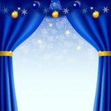 Guten Rutsch ins Neue Jahr-Hintergrund mit blauen Vorhängen Lizenzfreies Stockbild