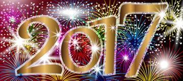 2017-guten Rutsch ins Neue Jahr-Hintergrund mit Feuerwerken Lizenzfreie Stockbilder