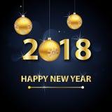 2018-guten Rutsch ins Neue Jahr-Hintergrund mit Goldbuchstaben und -bällen Stockfotografie