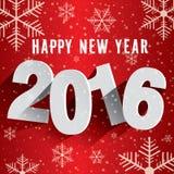 Guten Rutsch ins Neue Jahr 2016 Hintergrund mit Schneeflocken Stockbilder