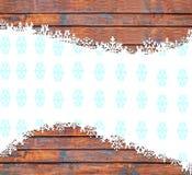 Guten Rutsch ins Neue Jahr-Hintergrund mit Schneeflocken und hölzerner Beschaffenheit Lizenzfreies Stockbild