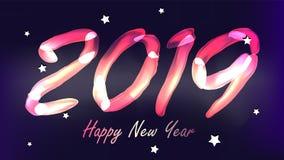 2019 guten Rutsch ins Neue Jahr-Hintergrund-Vektor Glühen-Neonlicht Nr. 2019 Weihnachten, neues Jahr-Plakat-Design Abbildung Vektor Abbildung