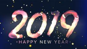 2019 guten Rutsch ins Neue Jahr-Hintergrund-Vektor Glühen-Neonlicht Weihnachtsplakat, Gruß-Karte, Broschüre, Flieger-Schablonen-D Lizenzfreie Abbildung