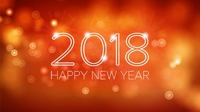 Guten Rutsch ins Neue Jahr-Hintergrund-Vektor 2018 Orange Bokeh in der Weinlese-Art Flieger-oder Broschüren-Design-Schablone 2018 Stockfoto