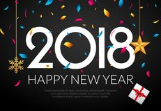 Guten Rutsch ins Neue Jahr-Hintergrunddekoration 2018 Konfettis der Grußkartendesign-Schablone 2018 Feiertag von 2018-jährigem lizenzfreie abbildung