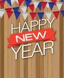 Guten Rutsch ins Neue Jahr-Holztropfen Stockbilder