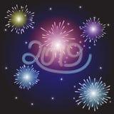 Guten Rutsch ins Neue Jahr-Illustration mit Feuerwerks-Blau-Hintergrund Vect stockfotografie
