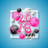 Guten Rutsch ins Neue Jahr-Illustration 2018 mit heller Zahl 3d und dekorativer Ball auf blauem Hintergrund Vektor-Feiertags-Desi Stockfotos
