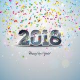 Guten Rutsch ins Neue Jahr-Illustration 2018 mit Zahl 3d und dekorativer Ball auf glänzendem Konfetti-Hintergrund Vektorfeiertags Lizenzfreie Stockbilder