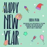 Guten Rutsch ins Neue Jahr-Illustration und Plakat-Vektor-Kunst Stockbild