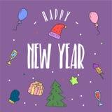 Guten Rutsch ins Neue Jahr-Illustration und Plakat-Vektor-Kunst Stockfotos