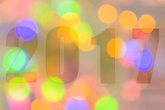 Guten Rutsch ins Neue Jahr 2017 im abstrakten bokeh des Lichtes Lizenzfreies Stockfoto