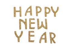 Guten Rutsch ins Neue Jahr im goldenen Text Stockbild