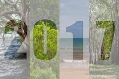 Guten Rutsch ins Neue Jahr 2017 im Reise-Thema-Wald, Mangrove, Meer, Beac Stockbild
