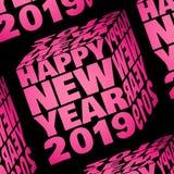 Guten Rutsch ins Neue Jahr 2019 innerhalb eines rosa Würfels lizenzfreie stockbilder