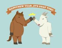 Guten Rutsch ins Neue Jahr, ist es Ziegenzeit! Stockfotografie