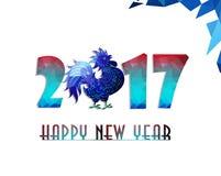 Guten Rutsch ins Neue Jahr 2017-jährig vom Hahn mit schönem buntem und hellem Polygonhahn Stockfotos