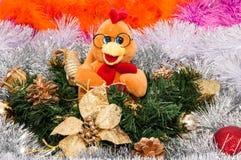 Guten Rutsch ins Neue Jahr, Jahr des Hahns Stockbild
