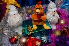 Guten Rutsch ins Neue Jahr, Jahr des Hahns Lizenzfreie Stockfotos