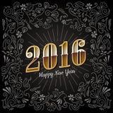 Guten Rutsch ins Neue Jahr kardieren 2016-Feiertags-Weinlesedesignvektor Lizenzfreies Stockfoto