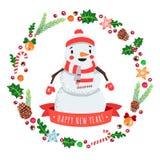 Guten Rutsch ins Neue Jahr-Karikaturschneemann in einer Kappe und Schal mit Weihnachten winden Vektorkarte Stockfotos