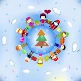 Guten Rutsch ins Neue Jahr-Karte (in einen Ring singen und tanzen). Stockfotos