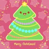 Guten Rutsch ins Neue Jahr-Karte in Kawaii-Art. Lizenzfreie Abbildung