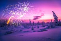 Guten Rutsch ins Neue Jahr-Karte mit Feuerwerk, Wald und Nordlicht Stockfotos