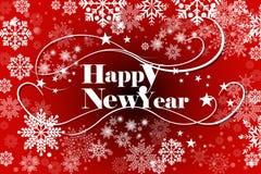 Guten Rutsch ins Neue Jahr-Kartendesign mit Schneeflocken-, Text- und Wellendekoration Lizenzfreies Stockfoto