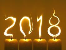 Guten Rutsch ins Neue Jahr 2018 - Kerzen Lizenzfreie Stockfotos