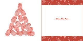 Guten Rutsch ins Neue Jahr Kiefer mit roten Fingerabdrücken und Schneeflockengrußkartenvektor Lizenzfreie Stockfotos