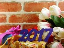 Guten Rutsch ins Neue Jahr-Konzept-Dekorationshintergrund Stockbild