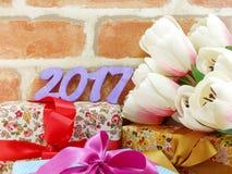 Guten Rutsch ins Neue Jahr-Konzept-Dekorationshintergrund Stockbilder