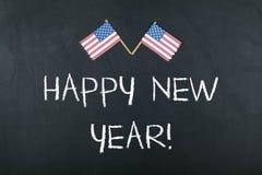 Guten Rutsch ins Neue Jahr-Konzept mit amerikanischer Flagge Stockbild