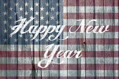 Guten Rutsch ins Neue Jahr-Konzept mit amerikanischer Flagge Lizenzfreie Stockbilder